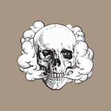 Smoke coming out of fleshless skull, death, mortal habit concept. Black and white sketch style vector illustration isolated on color background Royalty Free Stock Photo