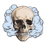 Smoke coming out of fleshless skull, death, mortal habit concept. Sketch style vector illustration  on white background. Hand drawn smoking skull emitting Stock Photo