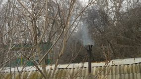Smoke coming out of old black chimney in forest. Roof of corrugated gray slate. stock video footage