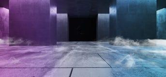 Smoke Concrete Columns Asphalt Dark Purple Pink White Glow Vibrant Reflections Grunge Garage Underground Tunnel Corridor Hallway. Spaceship Empty 3D Rendering stock illustration