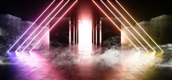 Free Smoke Concrete Columns Virtual Elegant Modern Tunnel Corridor Neon Lights Vibrant Purple Yellow  Dark Hall Garage Underground Club Royalty Free Stock Images - 150262649