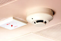 Smoke Detector. On the Ceiling of Building Royalty Free Stock Photography