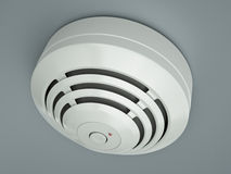 Smoke detector. Attached to the ceiling. 3D render Stock Photo
