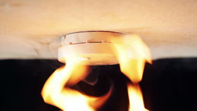 Smoke detector. Alarm, triggered by flames and smoke stock video footage