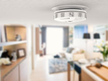Smoke detector on ceiling. 3d rendering smoke detector on ceiling Royalty Free Stock Photos