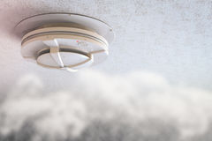 Smoke detector on ceiling. 3d rendering smoke detector on ceiling Royalty Free Stock Image