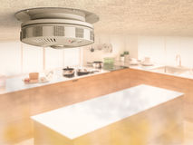 Smoke detector on ceiling. 3d rendering smoke detector on ceiling with smoke in kitchen Royalty Free Stock Photos