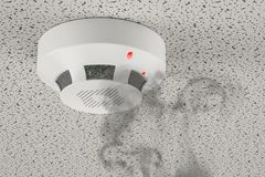 Smoke detector of fire alarm in action, 3D rendering. Smoke detector of fire alarm in action, 3D Royalty Free Stock Image