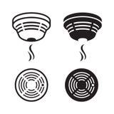 Smoke detector silhouette. Signs set Stock Photos
