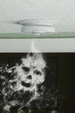 Smoke detector and smoke skull fire protection Royalty Free Stock Photos