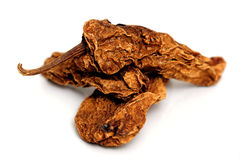 Smoke-Dried Chipotle Chili. Mexican chipotle chilies smoke dried used to make salsa and meat marinades Stock Photography