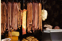 Smoke-dried sausages Royalty Free Stock Images