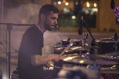 Smoke drummer live royalty free stock images