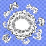 Smoke dust explosion cartoon frame hand drawn. Smoke dust explosion cartoon frame pop art comic style Stock Photos
