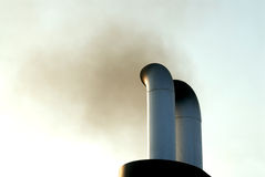 Smoke exhaust. Black smoke exhaust from ships Stock Photo