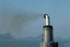 Smoke exhaust. Black smoke exhaust from ships Stock Image