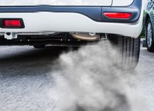 Smoke exhaust pipe car. Car exhaust pipe comes out strongly of smoke, air pollution concept Royalty Free Stock Photography