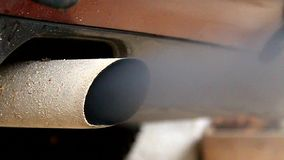 Smoke exhaust pipe car stock footage
