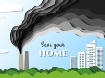 Smoke from the factory goes towards the city. Air pollution poisons. Save your home. Vector. Paper cut illustration royalty free illustration