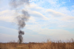 Smoke in the field Royalty Free Stock Images