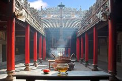 Smoke-filled temple royalty free stock image