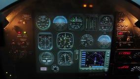 Smoke filling flight simulator cabin, computer software imitating accident. Stock footage stock footage