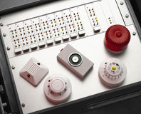 Smoke and fire detectors. And control console Royalty Free Stock Image