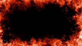 Blazing flames frame over black isolated background vector illustration