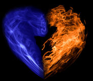 Smoke and fire heart. Heart symbol formed from smoke and fire Stock Photos