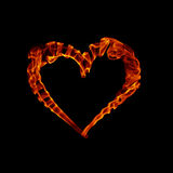Smoke fire heart for valentine day. Isolated on black Stock Photography