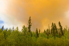 Smoke from a fire in the northwest territories stock image
