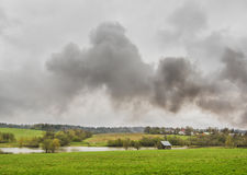 The smoke. From the fire over the village Royalty Free Stock Photography