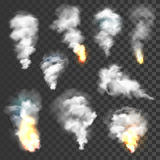 Smoke and fire set. On transparent background Royalty Free Stock Photos