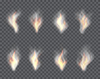 Smoke and Fire. Set of transparent effects on a plaid  background. Illustration Stock Photos