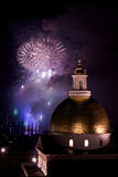 Smoke and fireworks. Fourth of july fireworks explode in the sky over the charles river with the massachusetts state house in the foreground Royalty Free Stock Photography