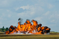 Smoke and flames. Flames and black smoke from a pyrotechnics explosion Royalty Free Stock Photos