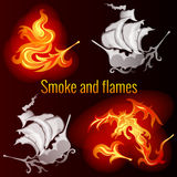 Smoke and flames, dark background. Smoke and flames on a dark background Royalty Free Stock Photos