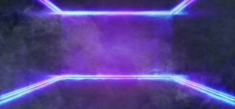 Smoke And Fog Abstract Shaped Sci Fi Futuristic Modern Vibrant G. Lowing Neon Purple Pink Blue Laser Tube Lights In Long Dark Empty Grunge Texture Concrete royalty free illustration