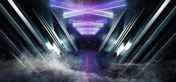 Smoke Fog Neon Blue Purple Glowing Triangle Sci Fi Futuristic Virtual Spaceship Abstract Triangle Glossy Metal Concrete Grunge. Dark Empty Cinematic Corridor stock illustration
