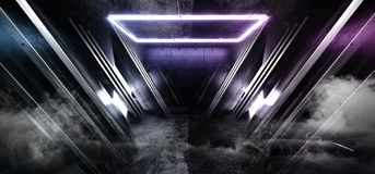 Smoke Fog Neon Blue Purple Glowing Triangle Sci Fi Futuristic Virtual Spaceship Abstract Triangle Glossy Metal Concrete Grunge. Dark Empty Cinematic Corridor vector illustration