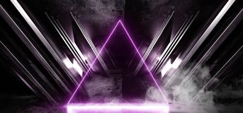 Smoke Fog Neon Purple Glowing Triangle Sci Fi Futuristic Virtual Spaceship Abstract Triangle Glossy Metal Concrete Grunge Dark. Empty Cinematic Corridor Room stock illustration