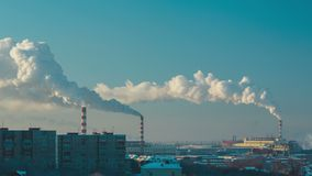 Smoke and fog over the city. Of Novosibirsk on a frosty sunny day, timelapse stock footage