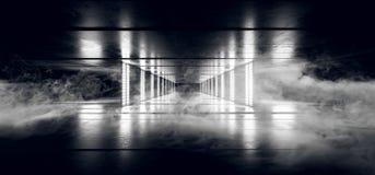 Smoke Fog Sci Fi Cyber Futuristic Alien Ship Dance Light Neon Glowing White Laser Lights Led On Dark Grunge Concrete Floor Tunnel. Corridor Empty Background 3D vector illustration