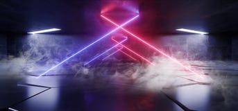 Smoke Fog Virtual Neon Lights Laser Show Purple Blue Vibrant Underground Hallway Entrance  Club Background Reality Glowing Beams. 3D Rendering Illustration royalty free illustration