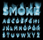 Smoke font collection. Fog and clouds font. Gas font. Royalty Free Stock Image