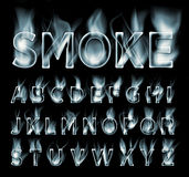 Smoke font collection. Fog and clouds font. Gas font. Dark smoke letter Stock Photo