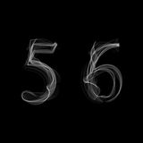 Smoke font. Numbers 5 6. Caracter five six. Vector illustration Royalty Free Stock Photography