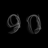 Smoke font. Numbers 9 0. Caracter nine zero.Vector illustration Royalty Free Stock Photography