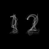 Smoke font. Numbers 1 2. Caracter one two.Vector illustration Stock Images