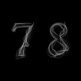 Smoke font. Numbers 7 8. Caracter seven eight. Vector illustration Royalty Free Stock Photos